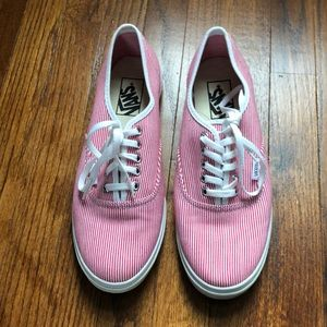 Vans red and white striped shoes